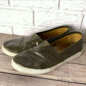 Toms Shoes Size 10 Dark Green Slip On Casual Flats